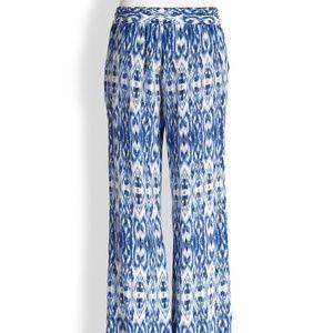Joie Aryn 100% Silk Ikat Print Wide Leg pants XS